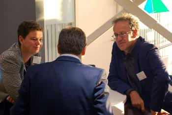 Ronja Kempin (Stiftung Wissenschaft und Politik) and Markus Jachtenfuchs (Hertie School of Governance) with PhD researcher José Piquer (POLIS, University of Cambridge)