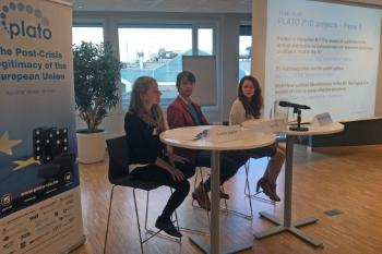 Camille Dobler (Institute of European Studies, Jagiellonian University), Jan Pesl (ARENA Centre for European Studies) and Dominika Proszowska (Twente Graduate School) were the final trio to discuss their PLATO PhD projects