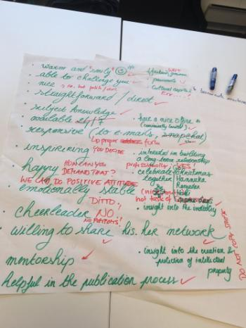What to expect from a supervisor? And from a PhD researcher? Some thoughts from the last day's joint session with PhD researchers and supervisors dedicated to developing a PLATO Supervision Charter