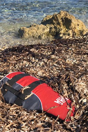 life jacket on beach